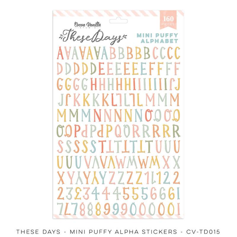 Cocoa Vanilla Studio - These Days Mini Puffy Alpha Stickers