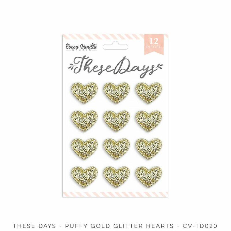 Cocoa Vanilla Studio - These Days Puffy Gold Glitter Hearts