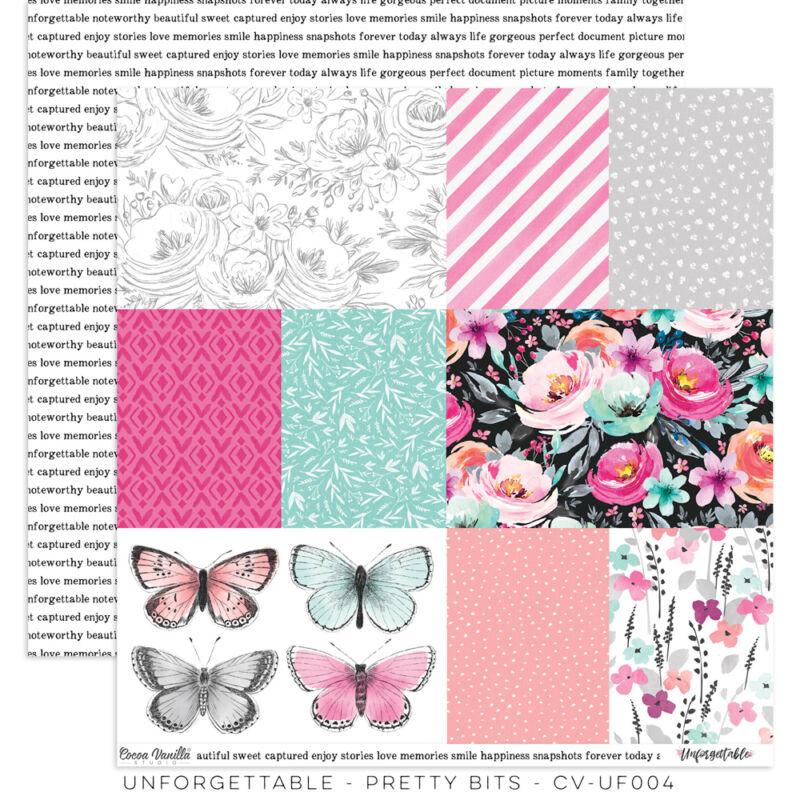 Cocoa Vanilla Studio - Unforgettable 12x12 Paper - Pretty Bits