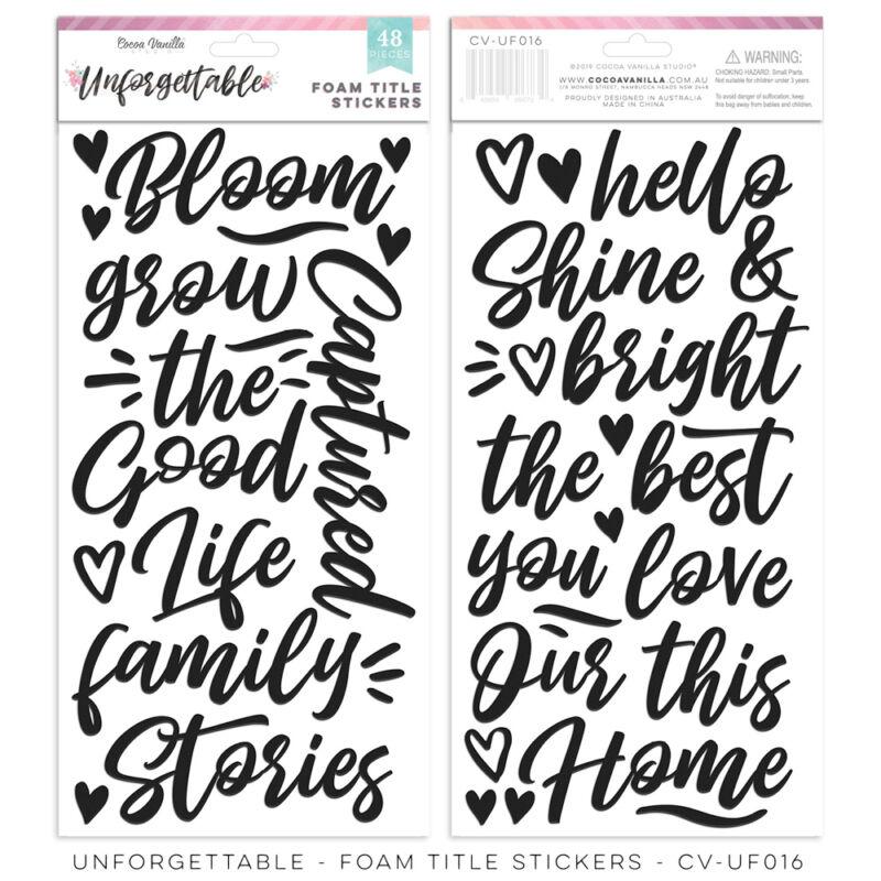Cocoa Vanilla Studio - Unforgettable Foam Title Stickers (48 Pieces)