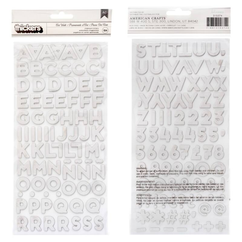 Heidi Swapp - Art Walk Chipboard Alpha Thickers - Art Walk (184 Piece)