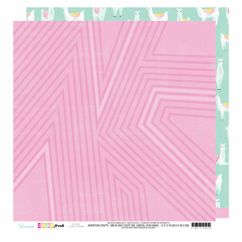 Heidi Swapp - Color Fresh 12x12 scrapbook papír - Llama Drama
