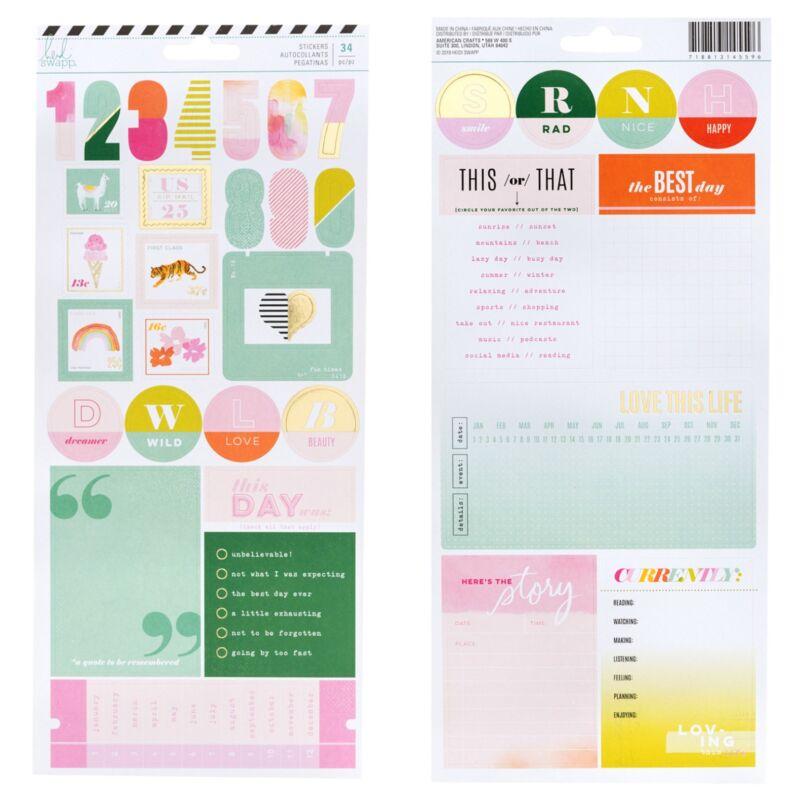Heidi Swapp 2 Sheets Memory Planner Label Cardstock Stickers