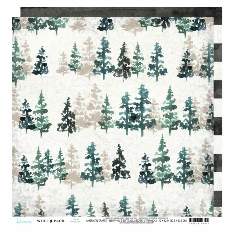 Heidi Swapp - Wolf Pack 12x12 Patterned Paper - Woodsy