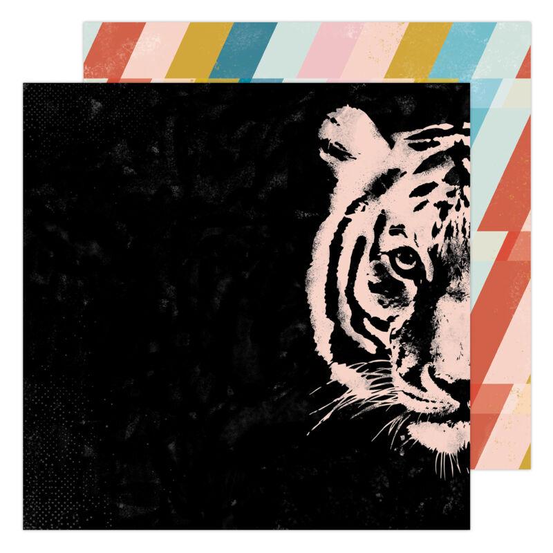 Heidi Swapp - Old School 12x12 Paper- Hey Tiger