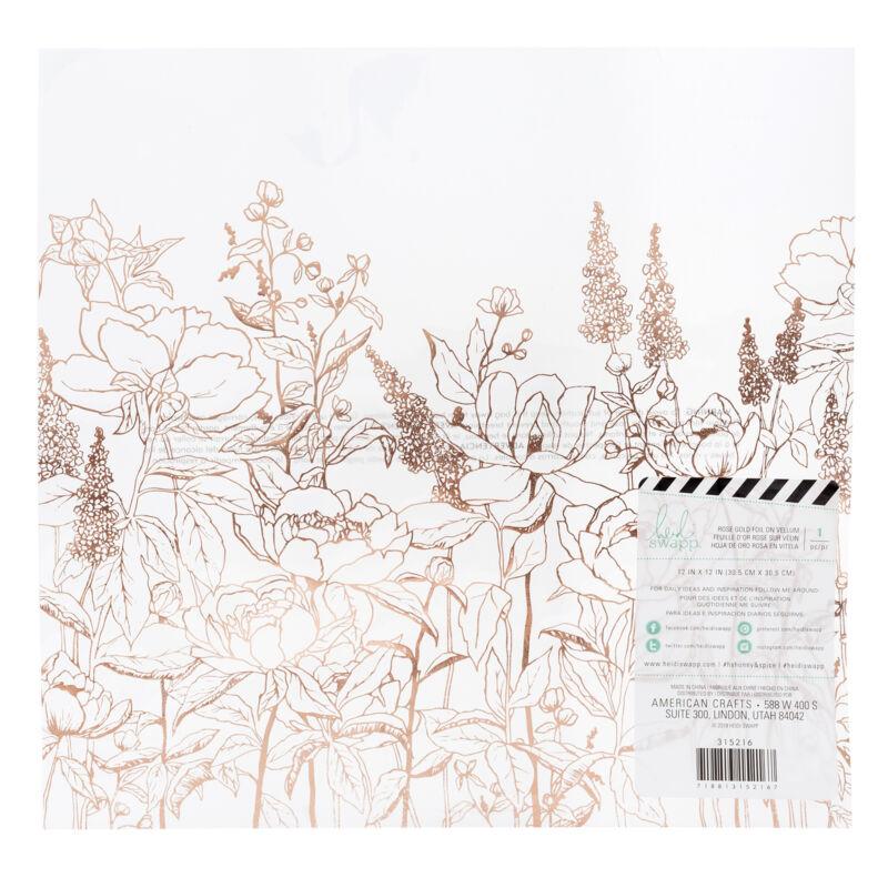 Heidi Swapp - Honey & Spice 12x12 Specialty Paper - Rose Gold Vellum