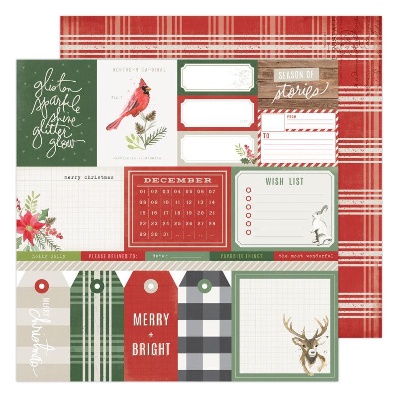 Heidi Swapp - Winter Wonderland 12x12 Patterned Paper - Merry & Bright