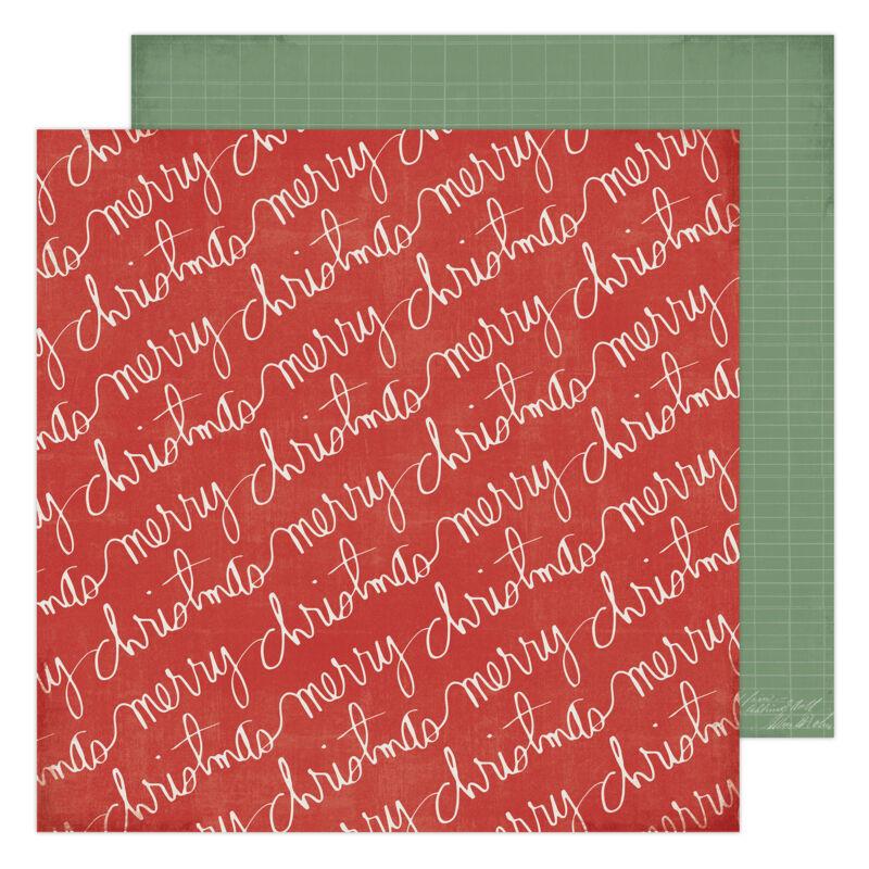 Heidi Swapp - Winter Wonderland 12x12 Patterned Paper - Merry Christmas