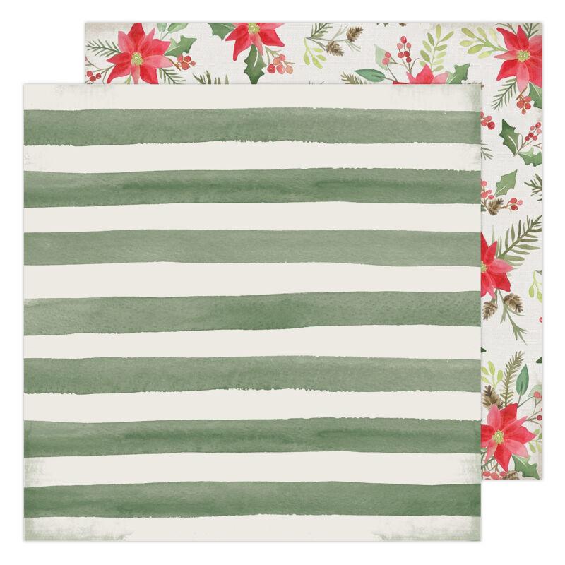 Heidi Swapp - Winter Wonderland 12x12 Patterned Paper - Poinsettia Lane