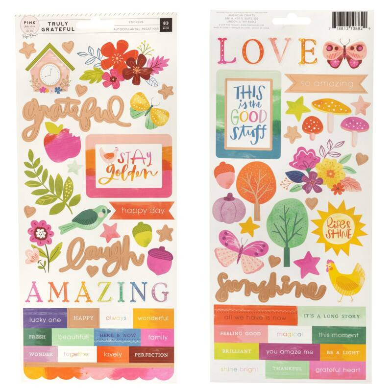 Pink Paislee - Paige Evans - Truly Grateful 6x12 Cardstock Stickers (87 Piece)