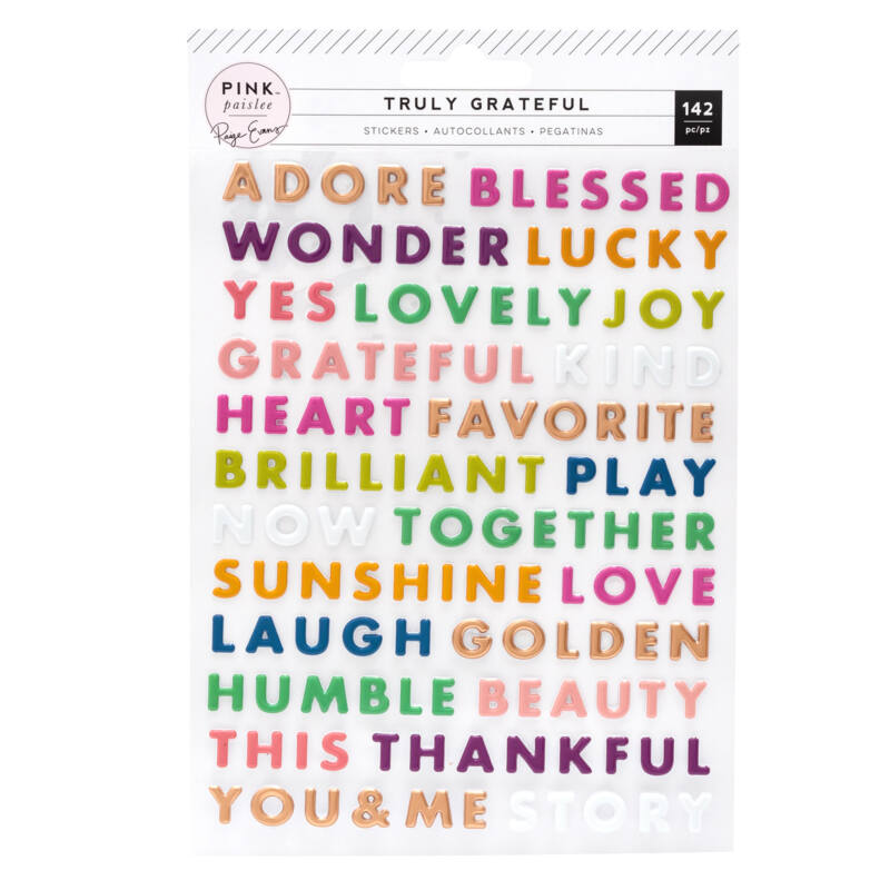 Pink Paislee - Paige Evans - Truly Grateful Puffy Word Stickers (142 Piece)