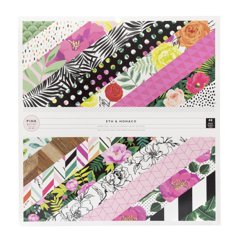 Pink Paislee - 5th and Monaco 12x12 Paper Pad (48 Sheets)