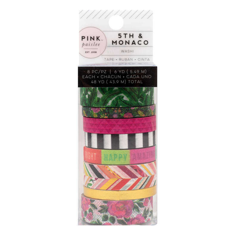 Pink Paislee - 5th and Monaco Washi Tape (8 Piece)