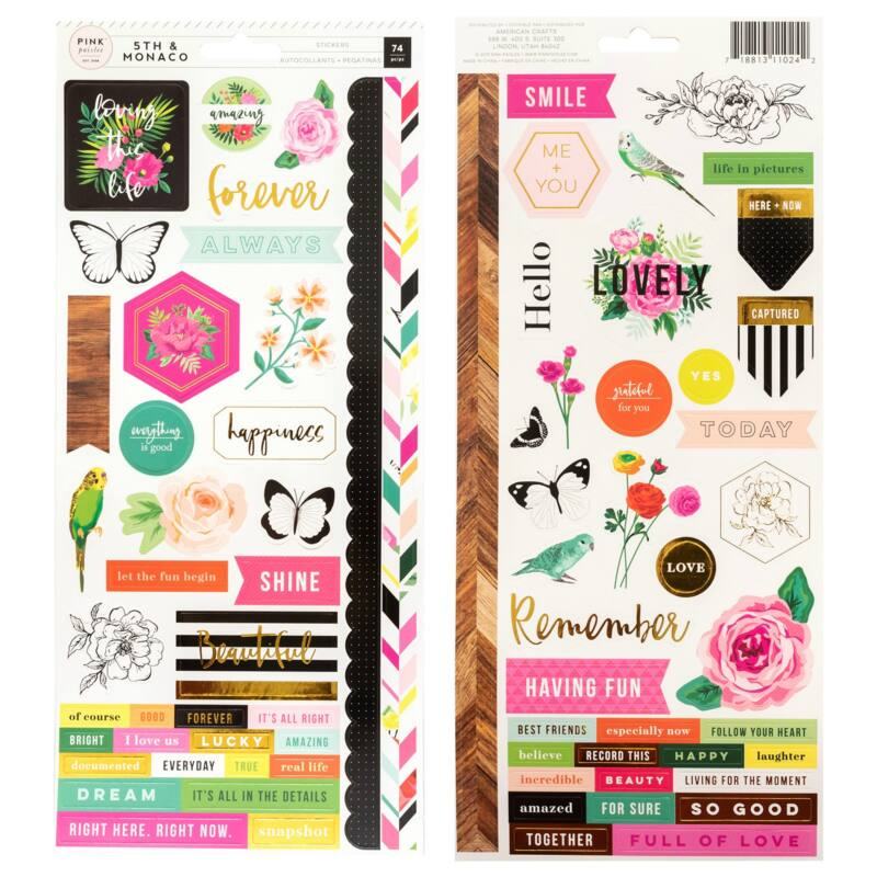 Pink Paislee - 5th and Monaco 6x12 Cardstock Stickers (74 Piece)
