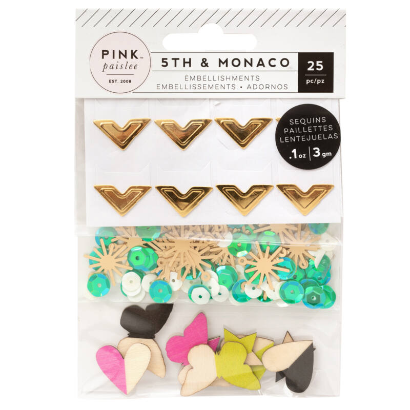 Pink Paislee - 5th and Monaco Mixed Embellishments (25 piece)