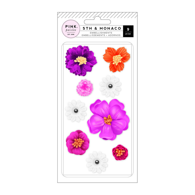 Pink Paislee - 5th and Monaco Dimensional Flowers (9 Piece)