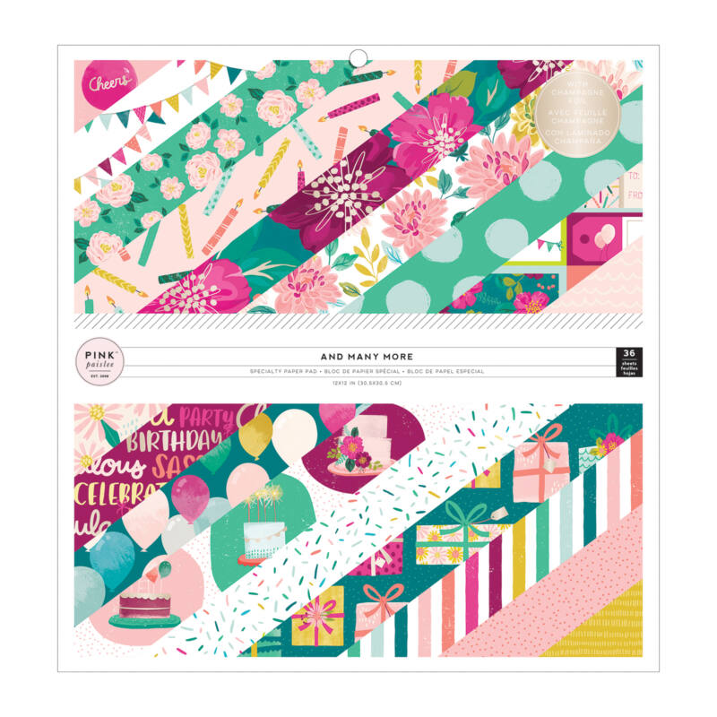 Pink Paislee - And Many More 12x12 Paper Pad with Champagne Foil (36 Sheets)