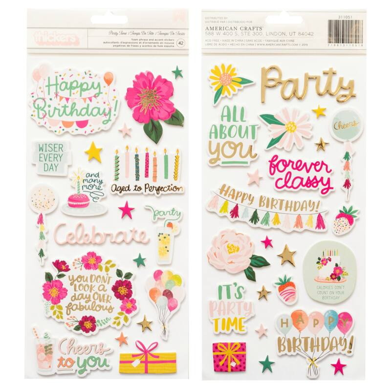 Pink Paislee - And Many More Foam and Chipboard Phrase Thickers - Party Time (42 Piece)