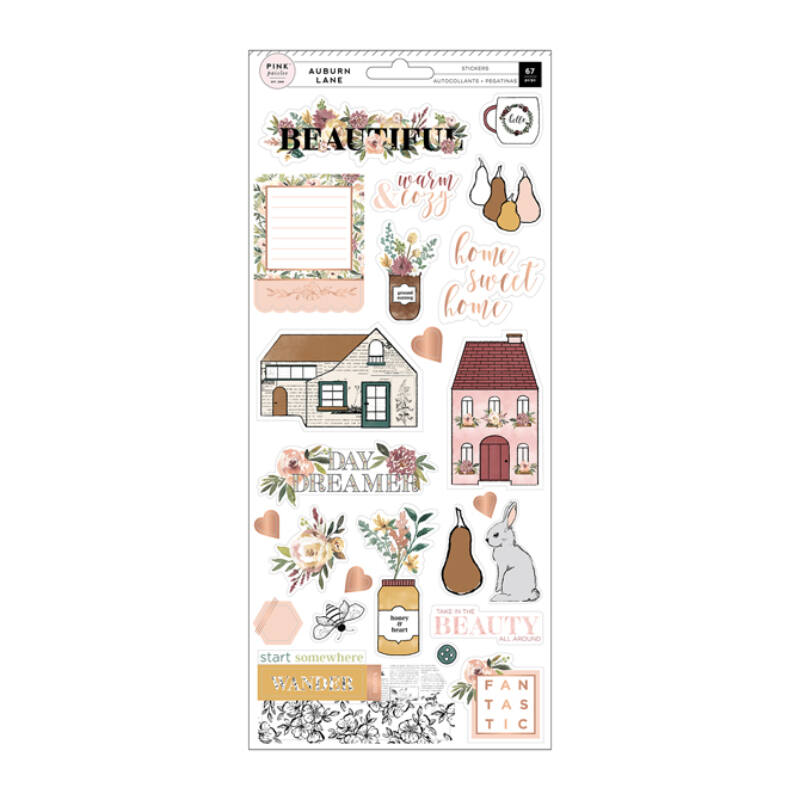 Pink Paislee - Auburn Lane 6x12 Stickers