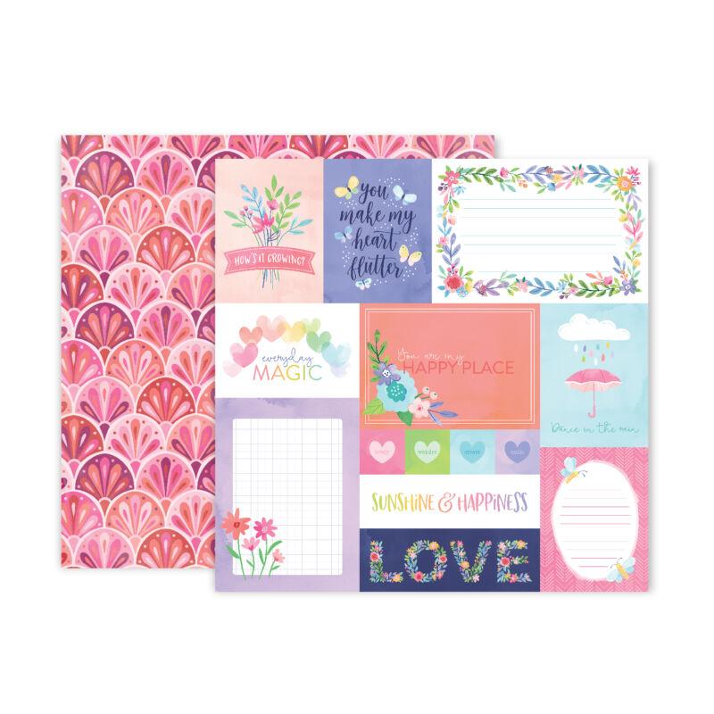 Pink Paislee - Paige Evans - Bloom Street 12x12 Paper - 1