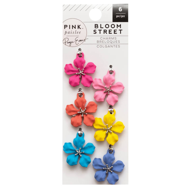 Pink Paislee - Paige Evans - Bloom Street Metal Flower Charms (6 Piece)