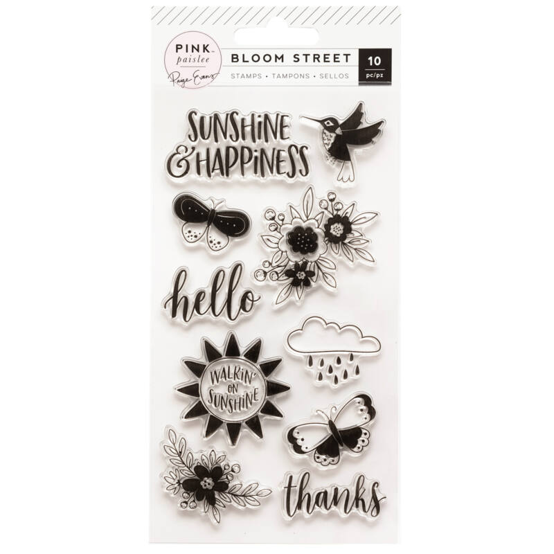 Pink Paislee - Paige Evans - Bloom Street Acrylic Stamps (10 Piece)