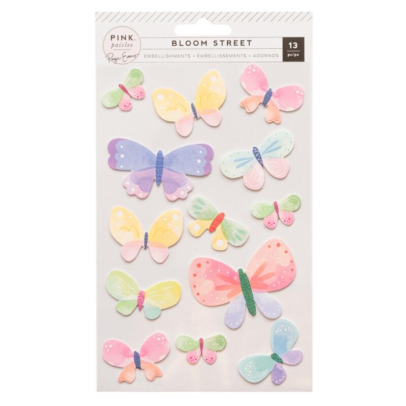 Pink Paislee - Paige Evans - Bloom Street Dimensional Butterflies (13 Piece)