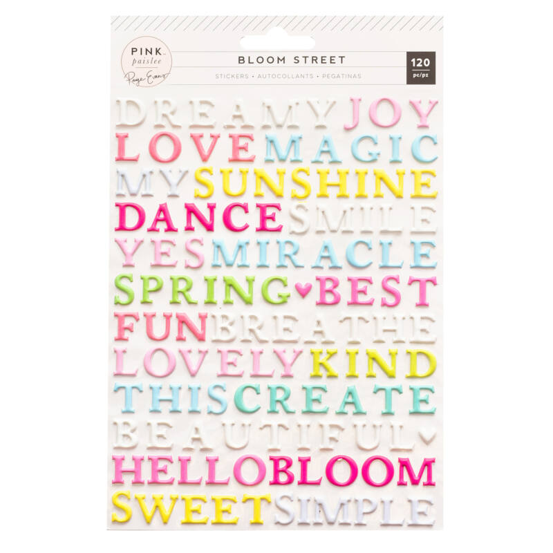Pink Paislee - Paige Evans - Bloom Street Puffy Word Stickers (120 Piece)