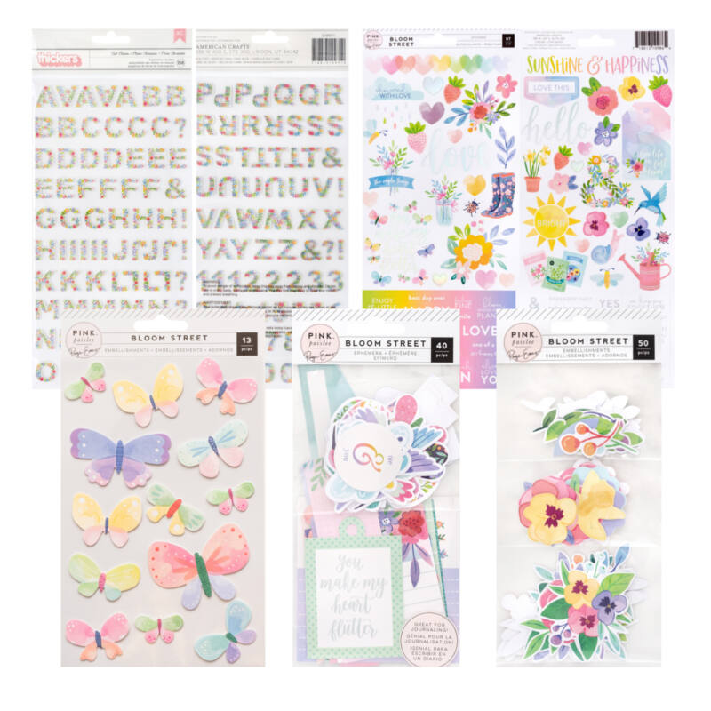 Pink Paislee - Paige Evans - Bloom Street Embellishment Kit (5 pieces)