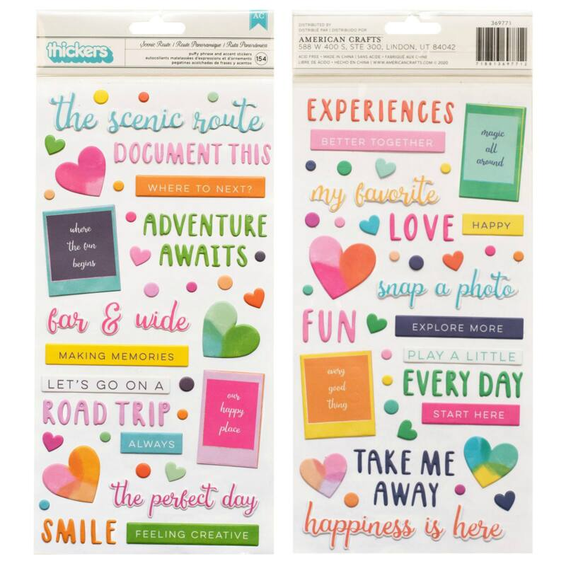 American Crafts - Paige Evans - Go the Scenic Route Puffy Phrase Thickers (154 Piece)