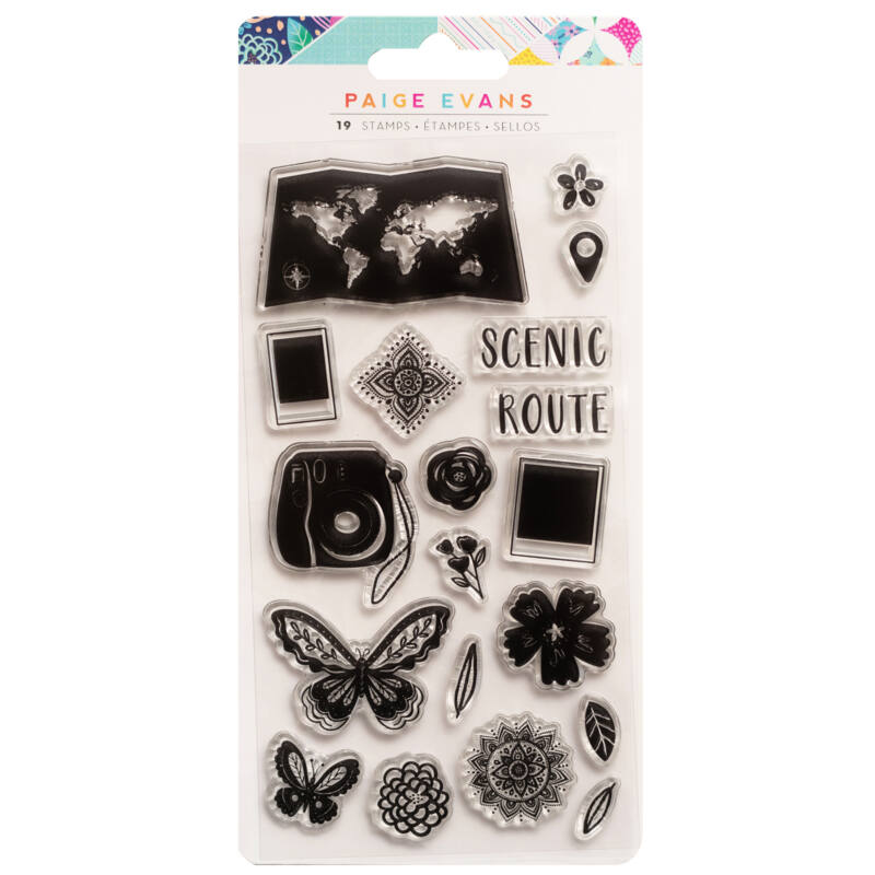 American Crafts - Paige Evans - Go the Scenic Route Acrylic Stamps (19 Piece)