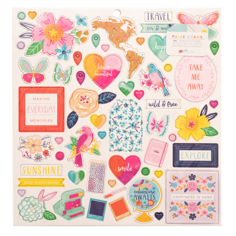 American Crafts - Paige Evans - Go the Scenic Route 12x12 Chipboard Sticker (64 Piece)