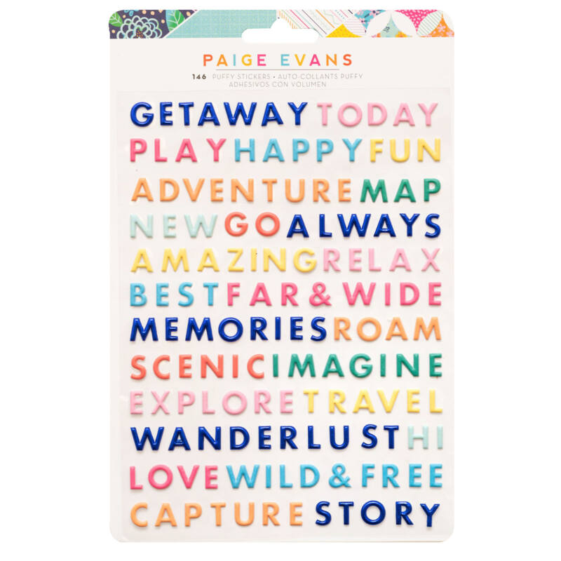 American Crafts - Paige Evans - Go the Scenic Route Puffy Word Sticker (146 Piece)