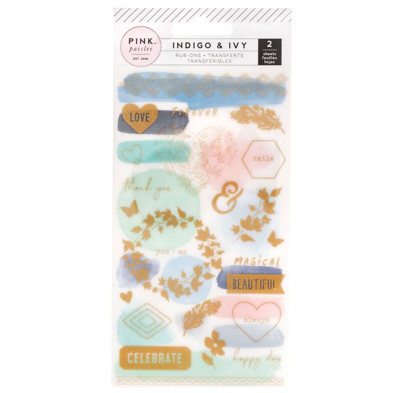 Pink Paislee - Indigo and Ivy Rub-ons (2 Sheets)