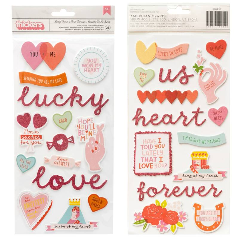 Pink Paislee - Lucky Us Chipboard Phrase Thickers - Lucky Charm (28 Piece)