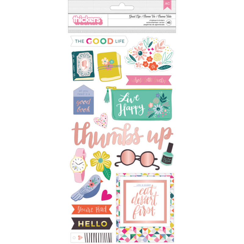 Pink Paislee - Paige Evans Oh My Heart Good Life Chipboard