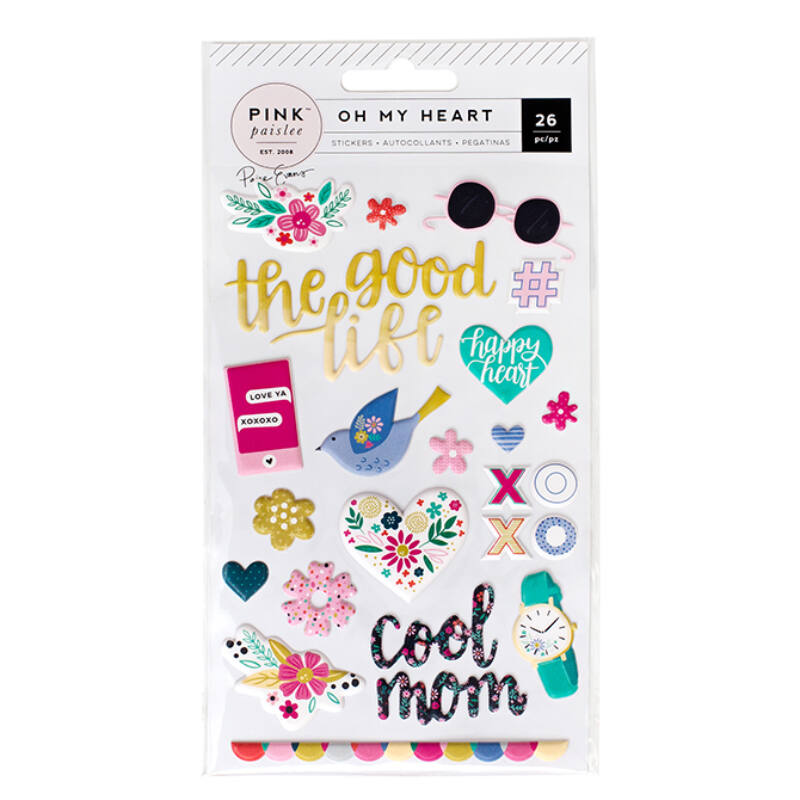 Pink Paislee - Paige Evans Oh My Heart Puffy Stickers