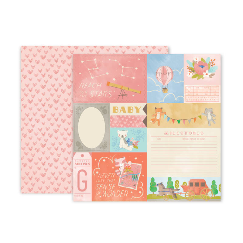 Pink Paislee - Little Adventurer 12x12 Patterned Paper - Paper 1