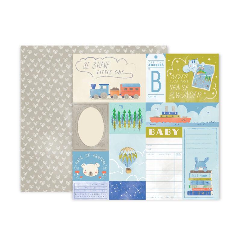 Pink Paislee - Little Adventurer 12x12 Patterned Paper - Paper 8