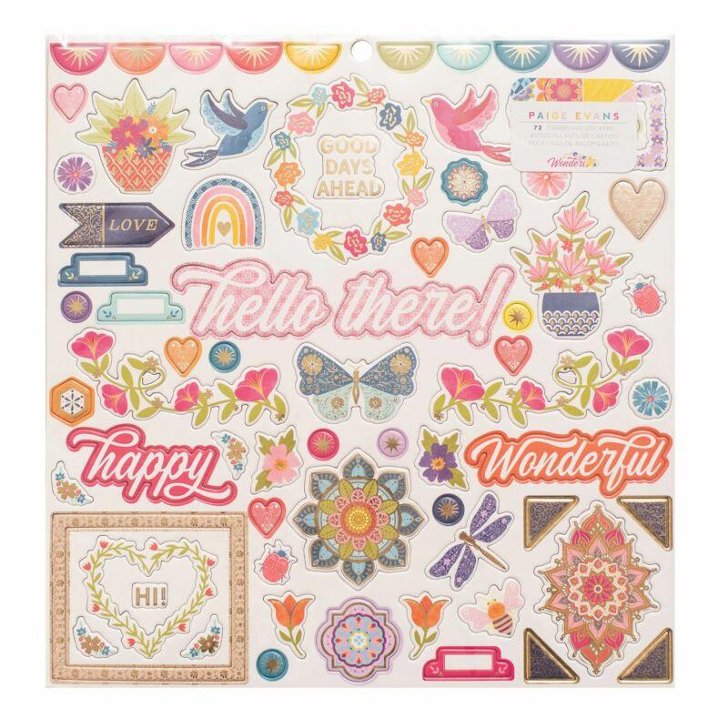 American Crafts - Paige Evans - Wonders 12x12 Chipboard Stickers (72 Piece)