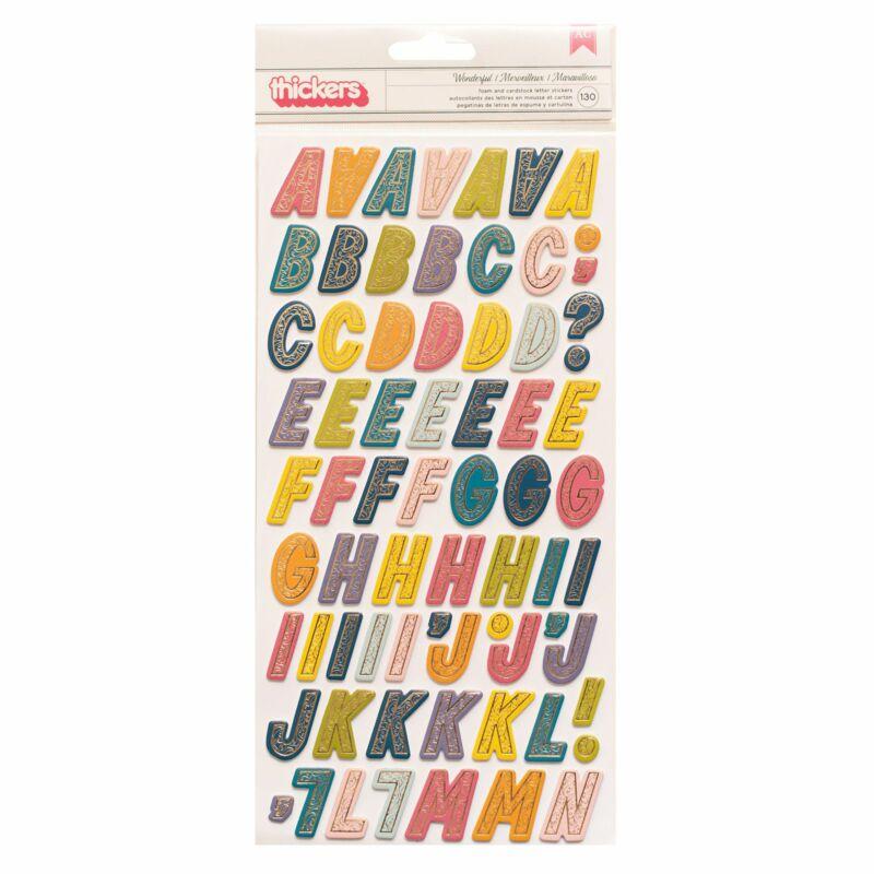 American Crafts - Paige Evans - Wonders AlphabetThickers - Wonderful (130 Piece)