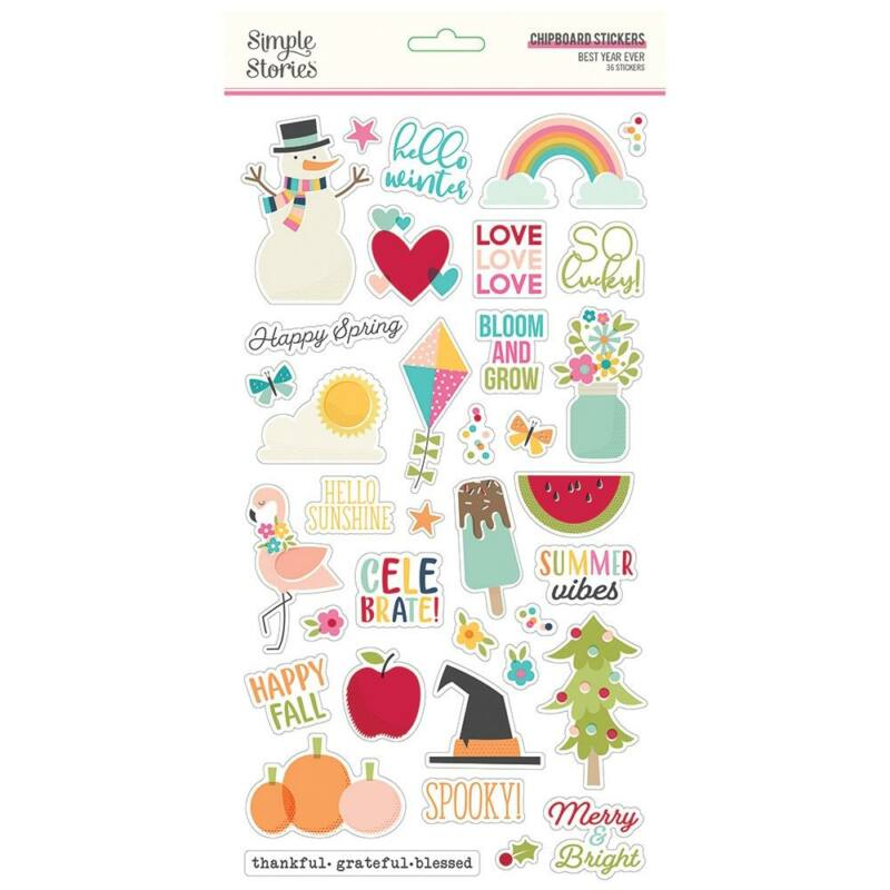 Simple Stories - Best Year Ever 6x12 Chipboard Stickers