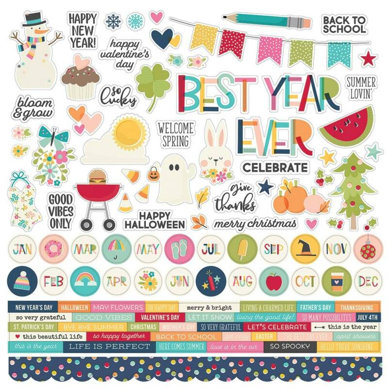 Simple Stories - Best Year Ever 12x12 Cardstock Stickers