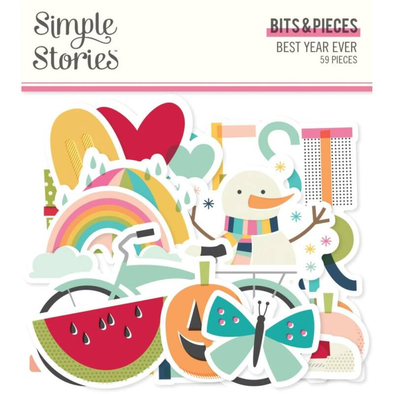 Simple Stories - Best Year Ever Bits & Pieces Die-Cuts (51 Pieces)