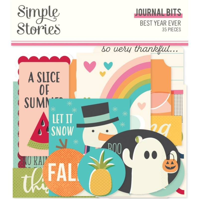 Simple Stories - Best Year Ever Bits & Pieces Die-Cuts - Journal (35 Pieces)