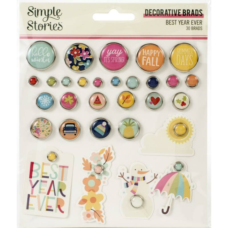 Simple Stories - Best Year Ever Decorative Brads (30 Pieces)