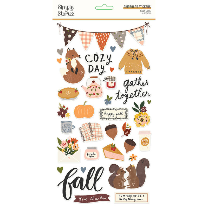Simple Stories - Cozy Days 6x12 Chipboard (34 pieces)