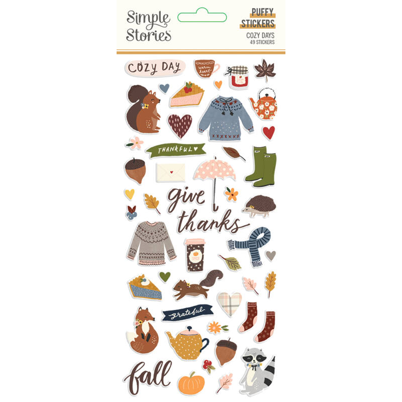 Simple Stories - Cozy Days Puffy Stickers (49 pieces)