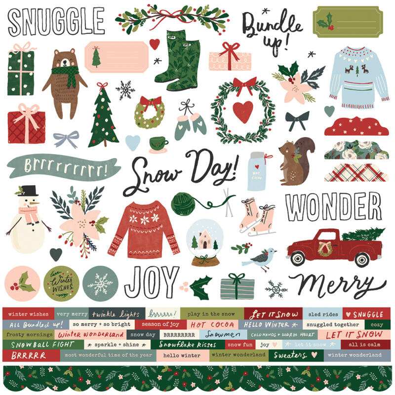 Simple Stories - Winter Cottage 12x12 Cardstock Sticker (90 pieces)