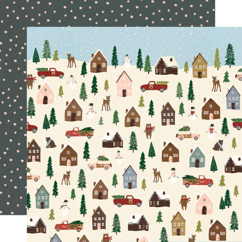 Simple Stories - Winter Cottage 12x12 Paper - Winter Wonderland